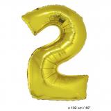 Folienballon 100cm Zahl 2 Farbe Gold