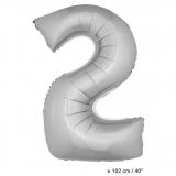 Folienballon 100cm Zahl 2 Farbe Silber
