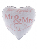 Folienballon Herz Aufdruck:Just married 45cm